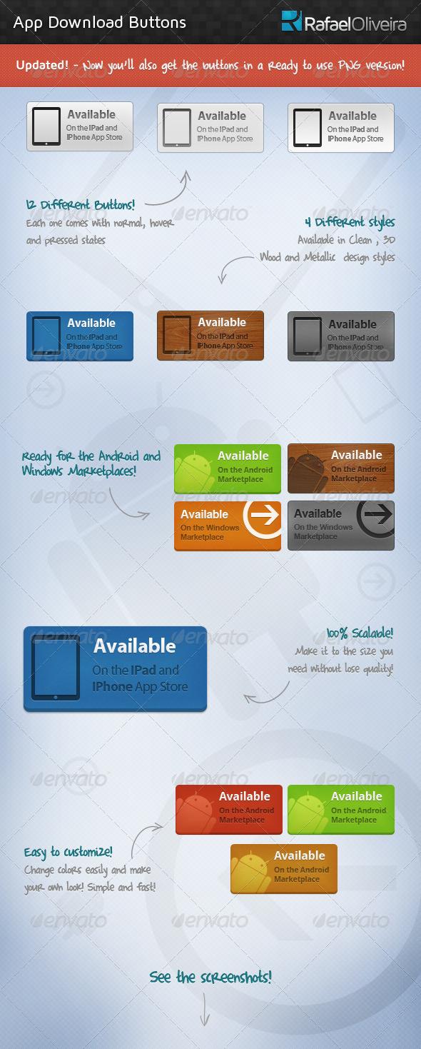 App Download Buttons - Buttons Web Elements