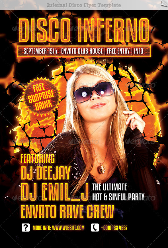 Infernal Disco Flyer Template - Clubs & Parties Events