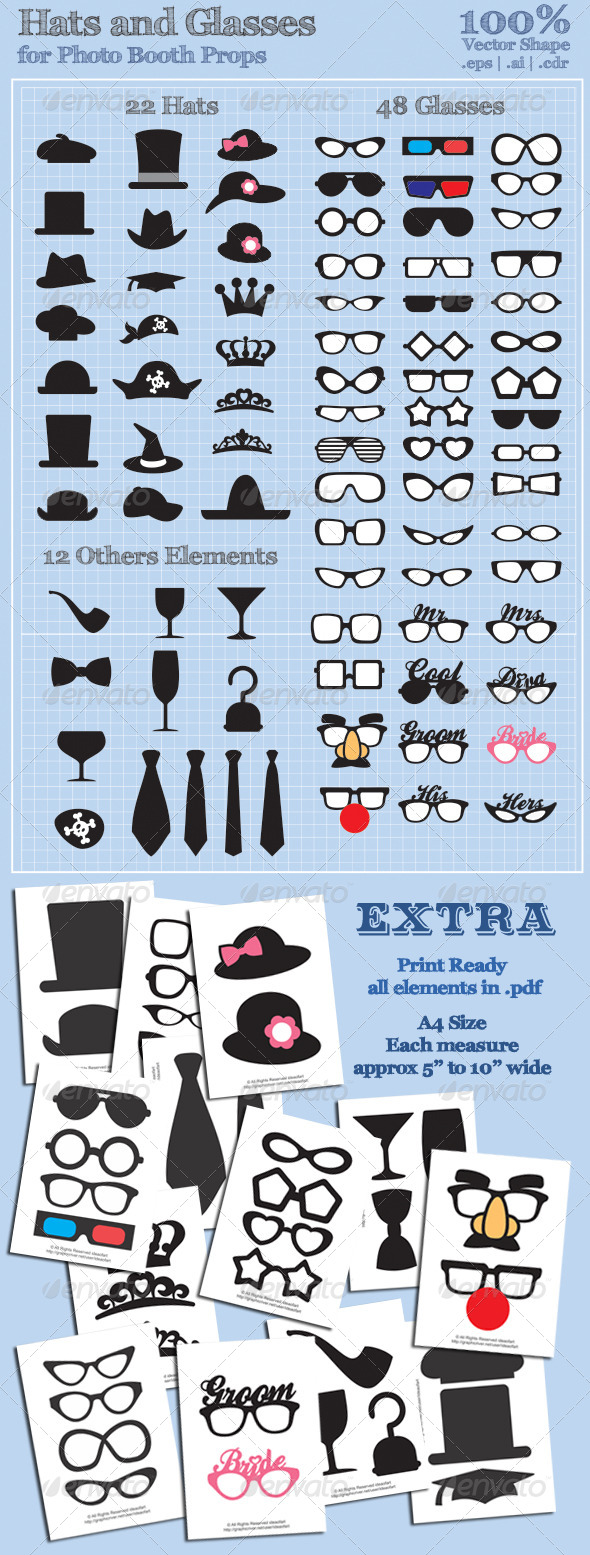 Hats and Glasses for Photo Booth Props - People Characters