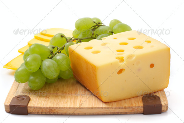 Cheese and grapes - Stock Photo - Images