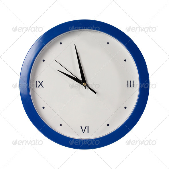 blue round the clock on a white background - Stock Photo - Images