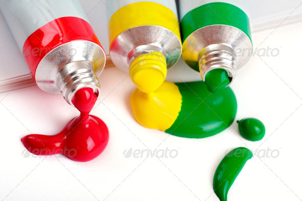 red, yellow and green colors in tubes - Stock Photo - Images