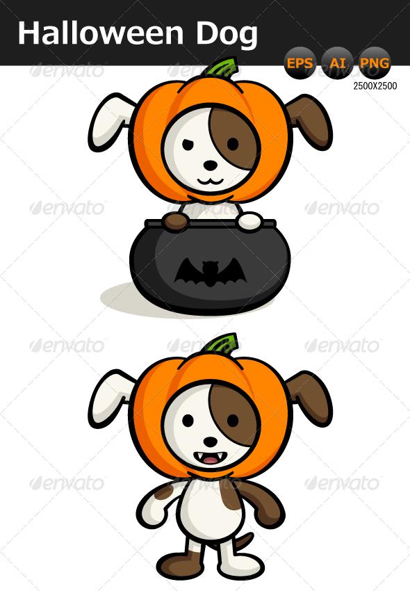 Halloween Dog Illustration - Animals Characters