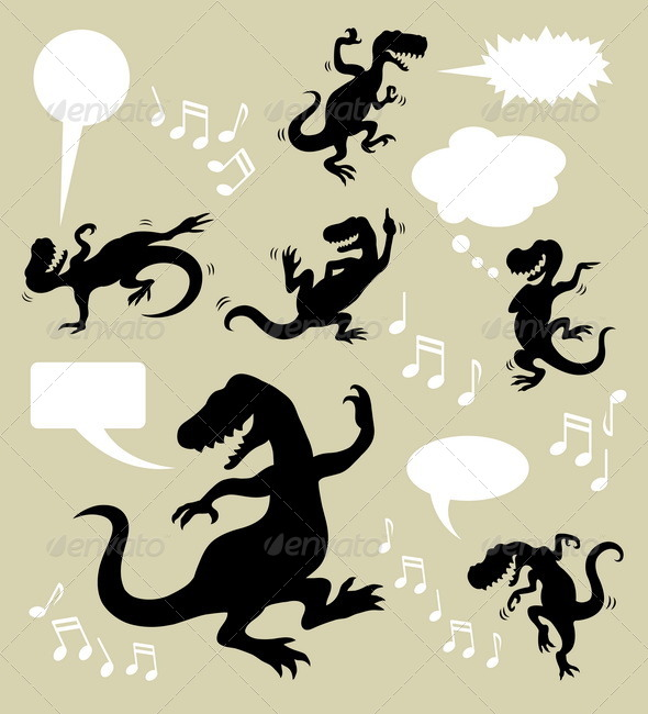 Dinosaur Dancing Silhouettes - Animals Characters