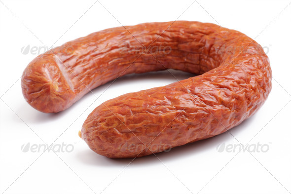 smoked sausage over white - Stock Photo - Images