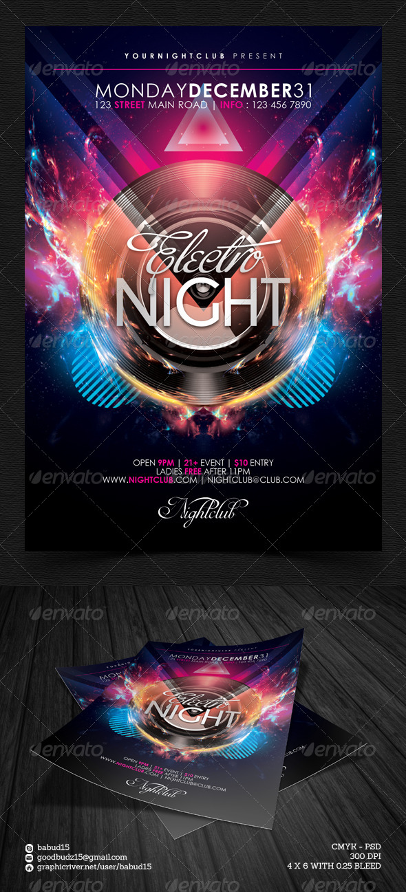 Electro Night Flyer Template By Angkalimabelas  Graphicriver