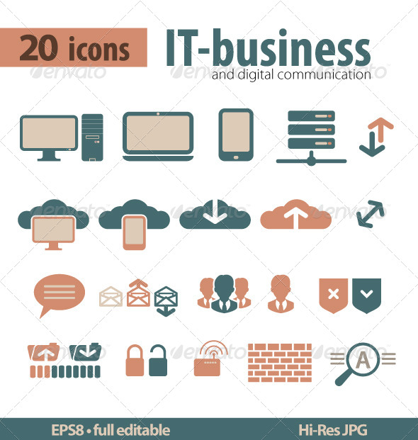 IT-bisiness and Digital Communication Icons - Icons