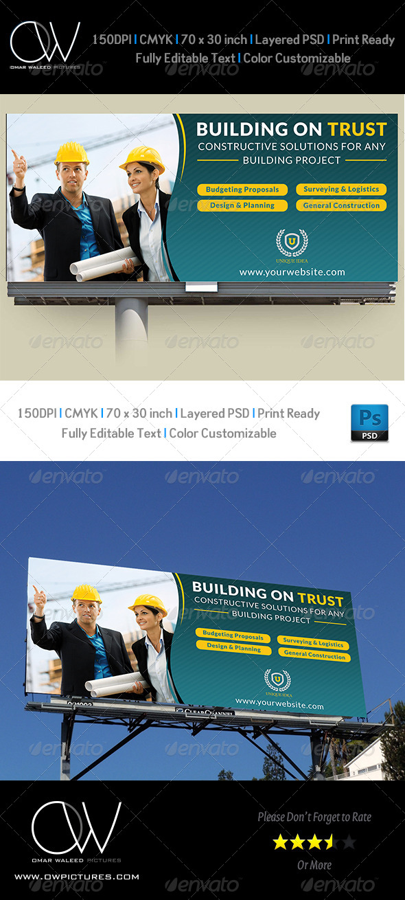 Construction Business Billboard Template - Signage Print Templates