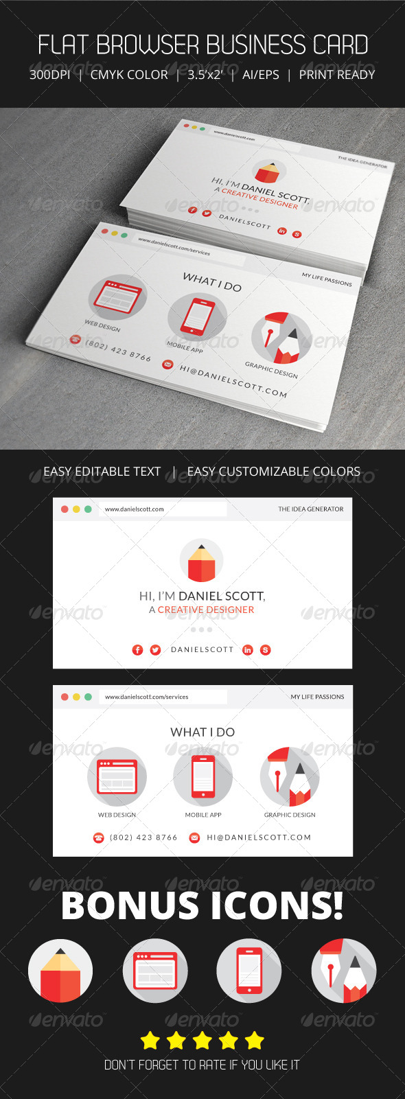 Flat Web Browser Business Card by Artalic | GraphicRiver