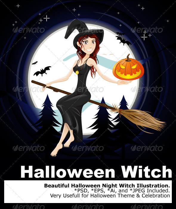 Halloween Night Witch - Characters Vectors