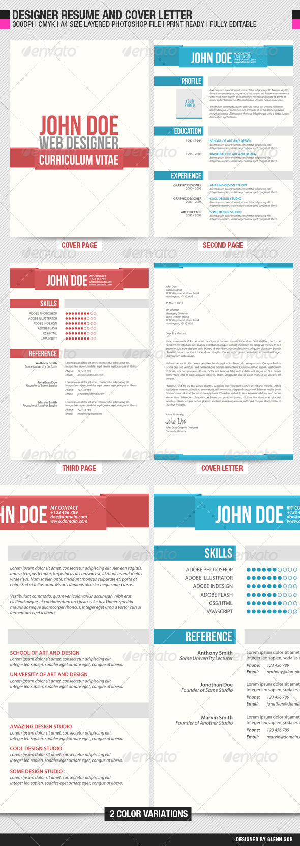 Designer Resume and Cover Letter - Resumes Stationery