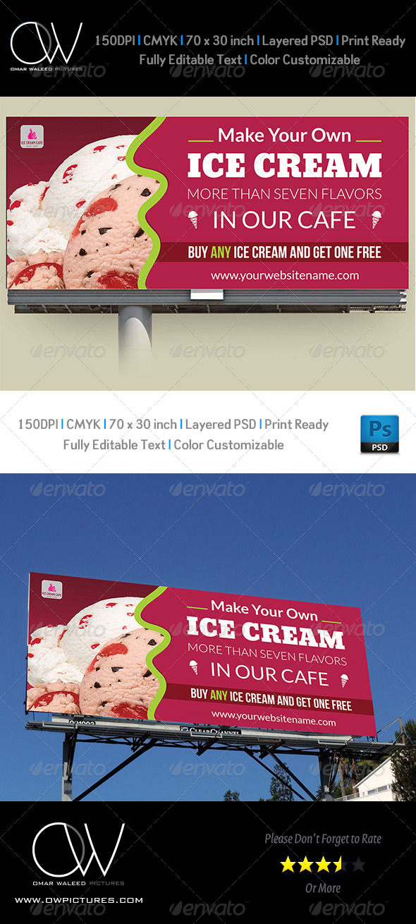 Ice Cream Billboard Template - Signage Print Templates