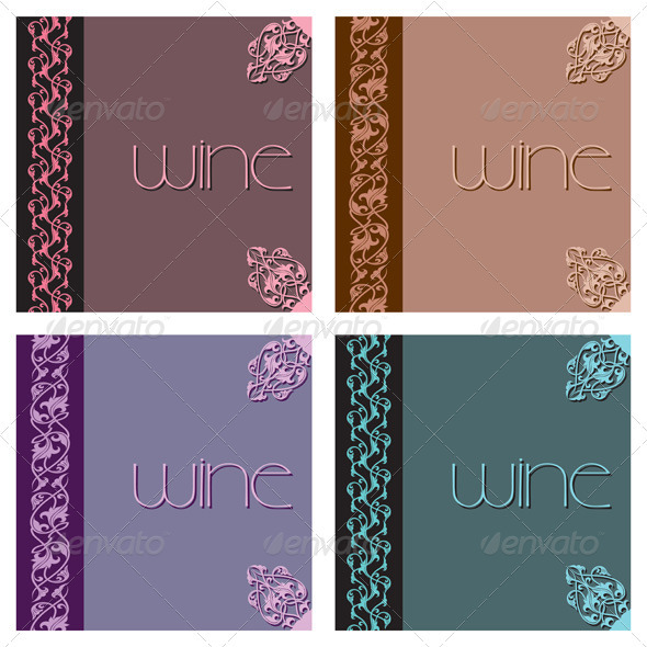 Vintage Menu Cover Designs Set - Flourishes / Swirls Decorative