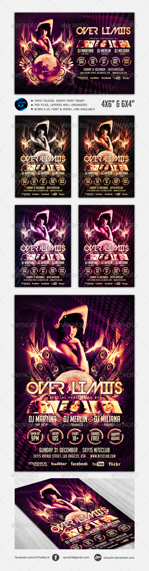 Over Limits Flyer Template - Clubs & Parties Events
