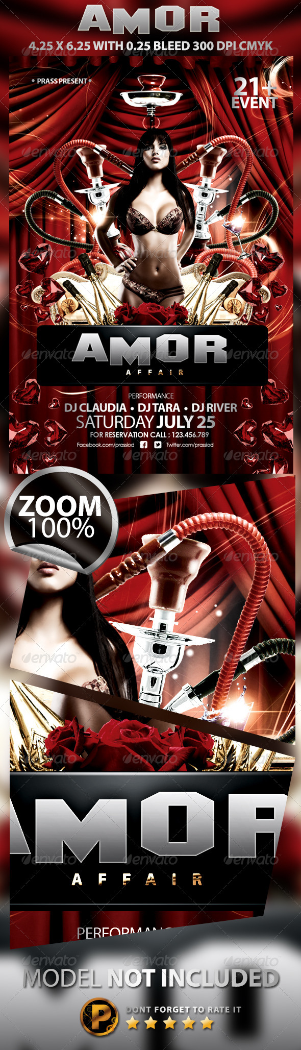 Amor Affair Flyer Template - Clubs & Parties Events