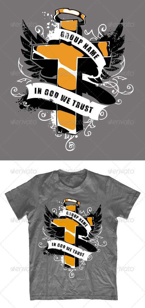 Grunge T-shirt design with cross - Church T-Shirts