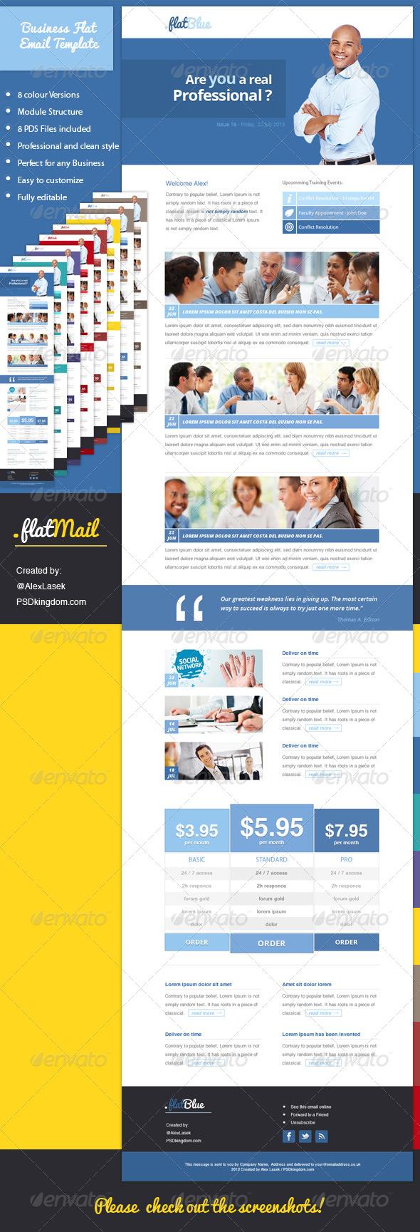 Flat eNewsletter Design Templates - 8 colors - E-newsletters Web Elements