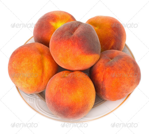 Peaches On A Plate - Stock Photo - Images