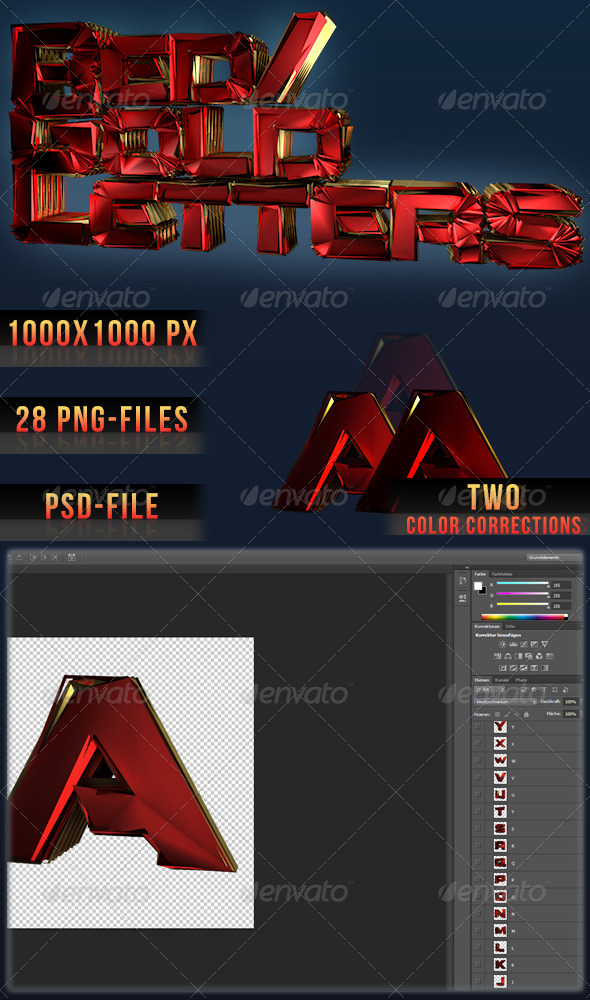 3D Red/Gold Ripple Letters - Text 3D Renders