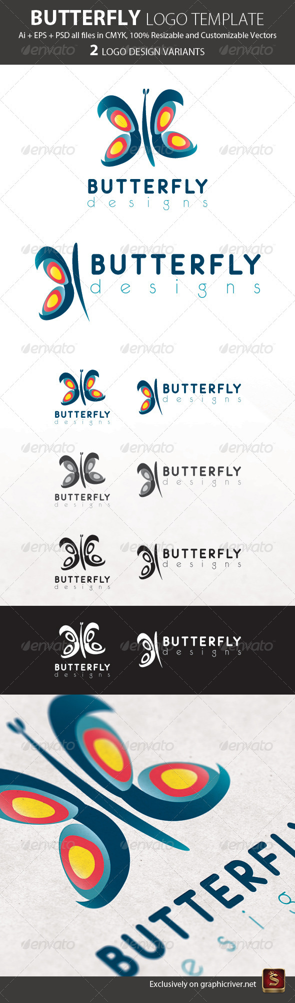 Butterfly Logo Template - Animals Logo Templates