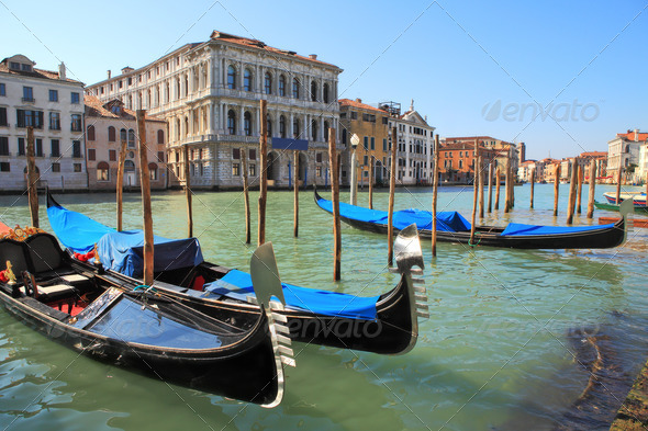 Gondolas on Grand Canal in Venice, Italy. - Stock Photo - Images