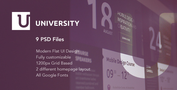 University – Education Flat UI PSD Template - Nonprofit PSD Templates