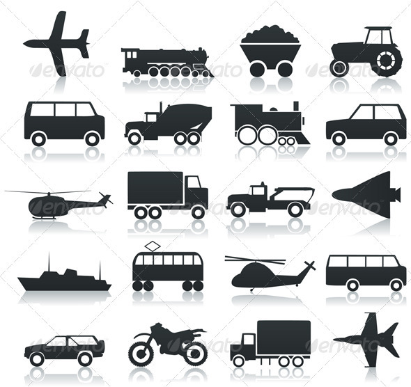 Transport icons - Man-made Objects Objects