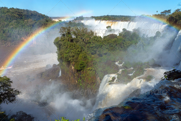 The Iguazu falls in South America  - Stock Photo - Images
