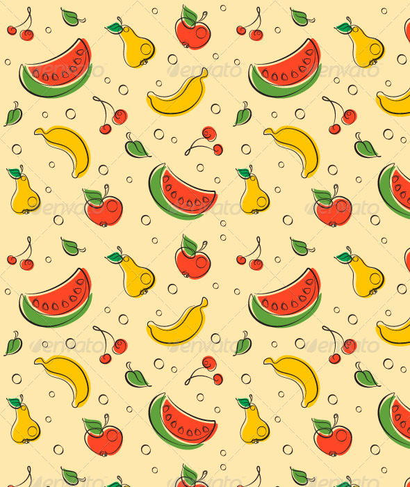 Drawn Outline Fruit Pattern