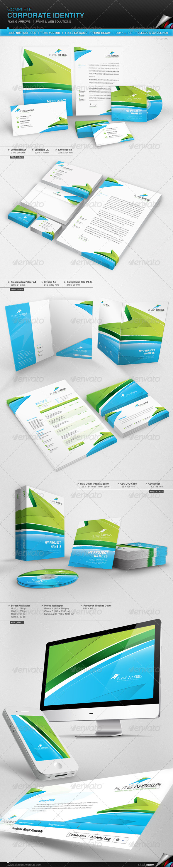 Corporate Identity - Flying Arrows - Stationery Print Templates