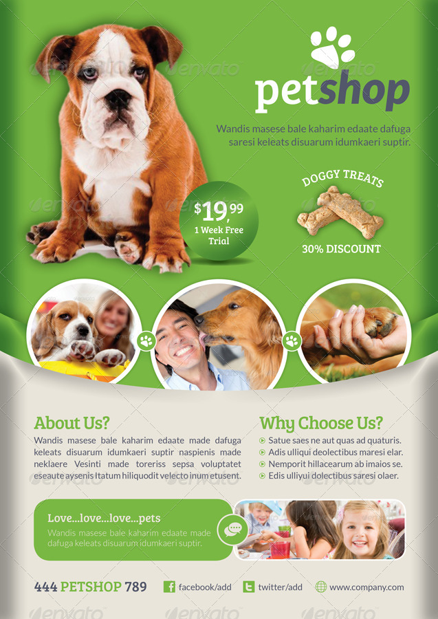 Pet Shop Flyer Template by grafilker   GraphicRiver