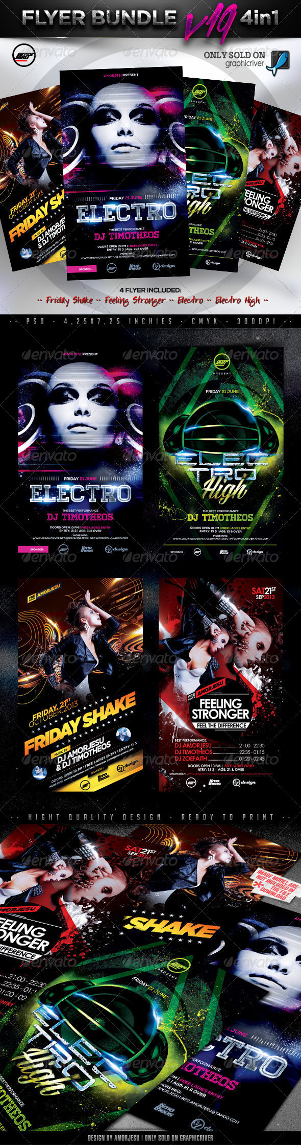 Flyer Bundle Vol19 - 4 in 1 - Clubs & Parties Events