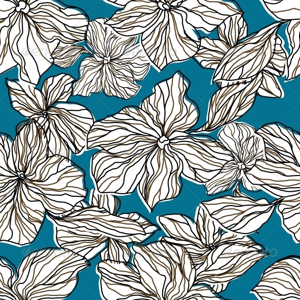 Abstract Seamless Background with Flowers - Patterns Decorative