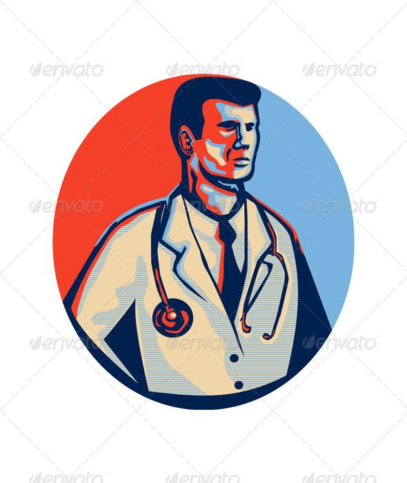 Doctor Stethoscope Standing Retro by patrimonio   GraphicRiverDoctor Stethoscope Comment