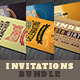 Retro Birthday Invitations Bundle - GraphicRiver Item for Sale