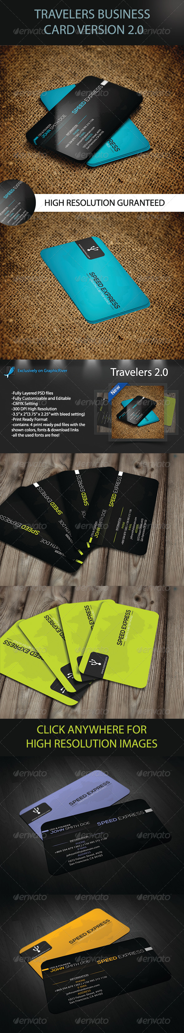Travelers Business Card Version 2.0 - Print Templates