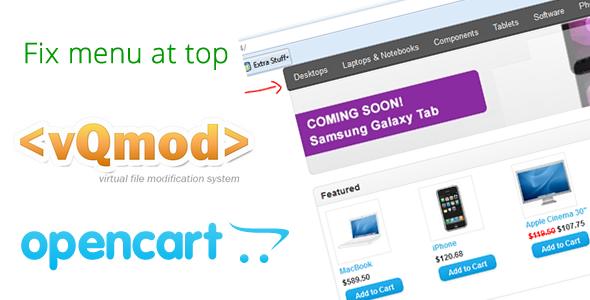 Opencart fix menu bar to top Vqmod - CodeCanyon Item for Sale