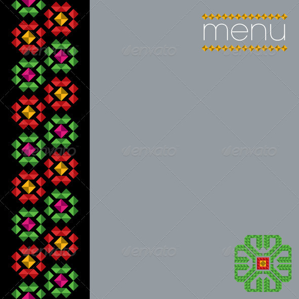 Traditional Mexican Menu Design - Decorative Symbols Decorative