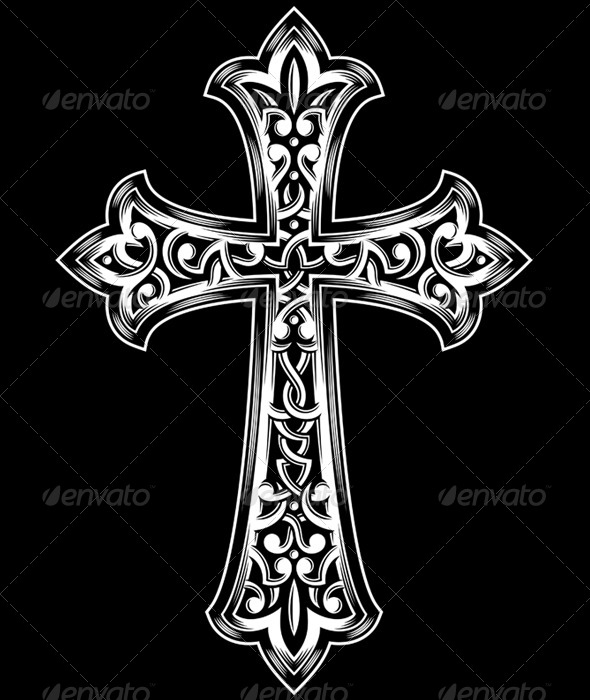 Antique Christian Cross Vector by vectorfreak | GraphicRiver