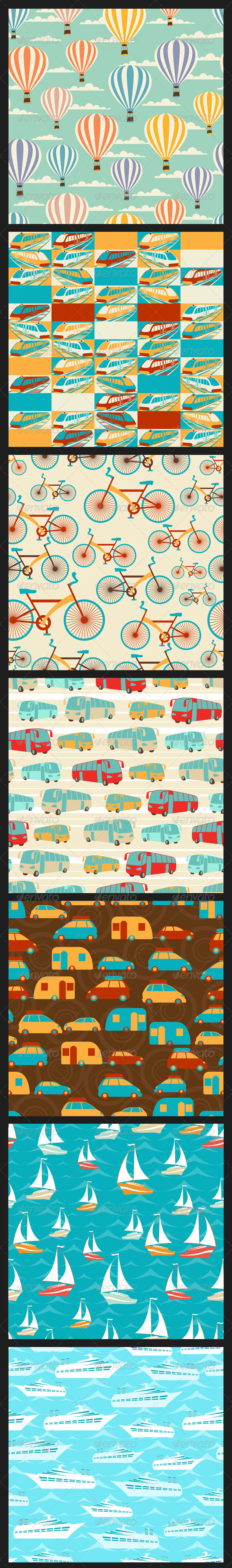 Retro Travel Seamless Patterns. - Travel Conceptual