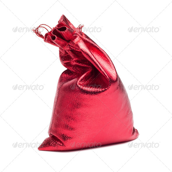 Red Christmas Bag With Present Over White - Stock Photo - Images