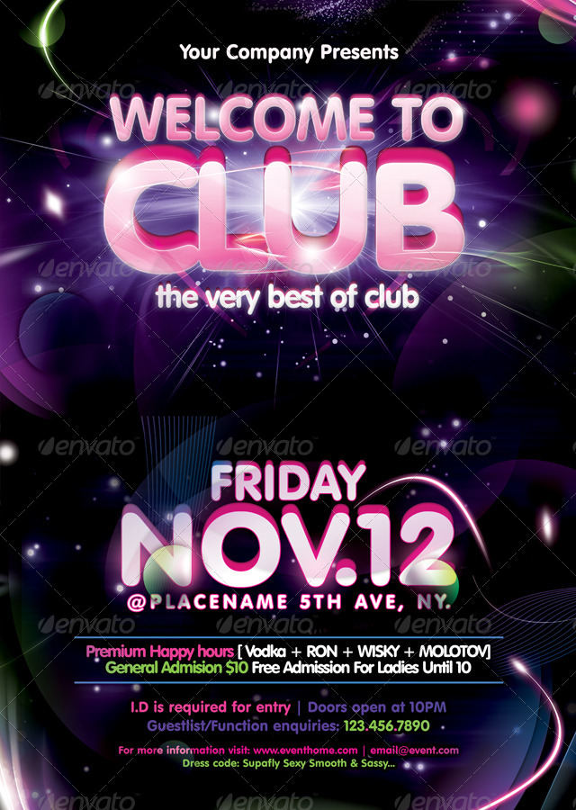 welcome to club poster  flyer template by massamedia