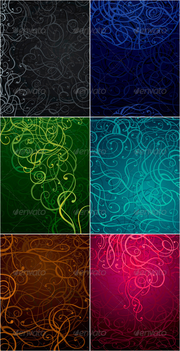 Abstract Ornament Backgrounds Set in Six Colors - Backgrounds Decorative
