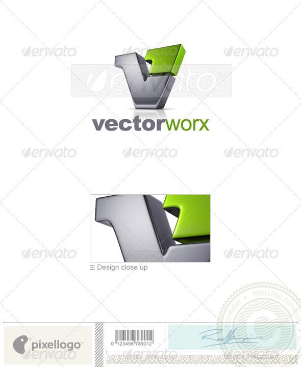 Letter V Logo 3D-744 - Letters Logo Templates