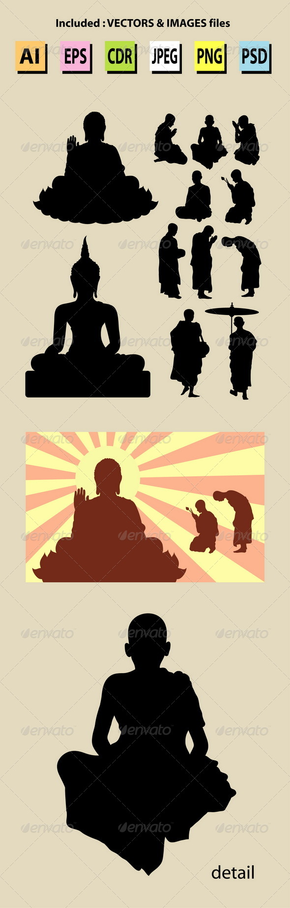 Monk and Buddha Silhouettes - Religion Conceptual