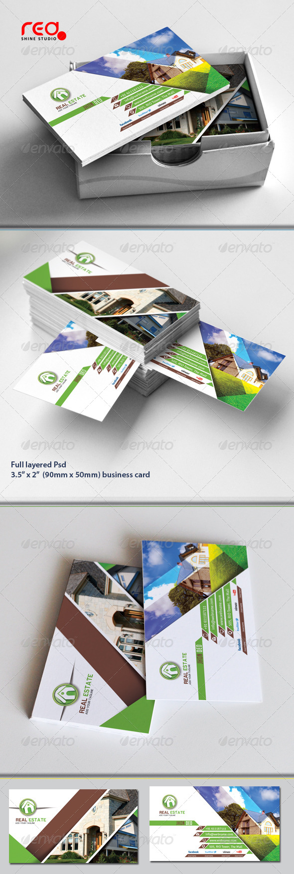 Real estate business card templates designs from graphicriver reheart Image collections