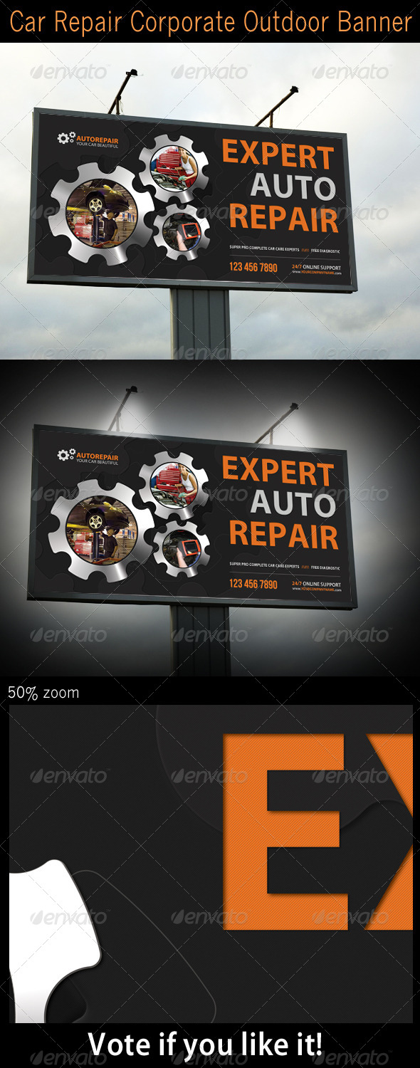 Car Repair Corporate Outdoor Banner - Signage Print Templates