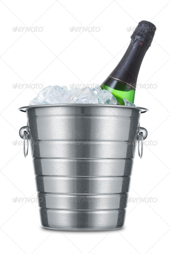 Bottle of champagne in ice bucket - Stock Photo - Images