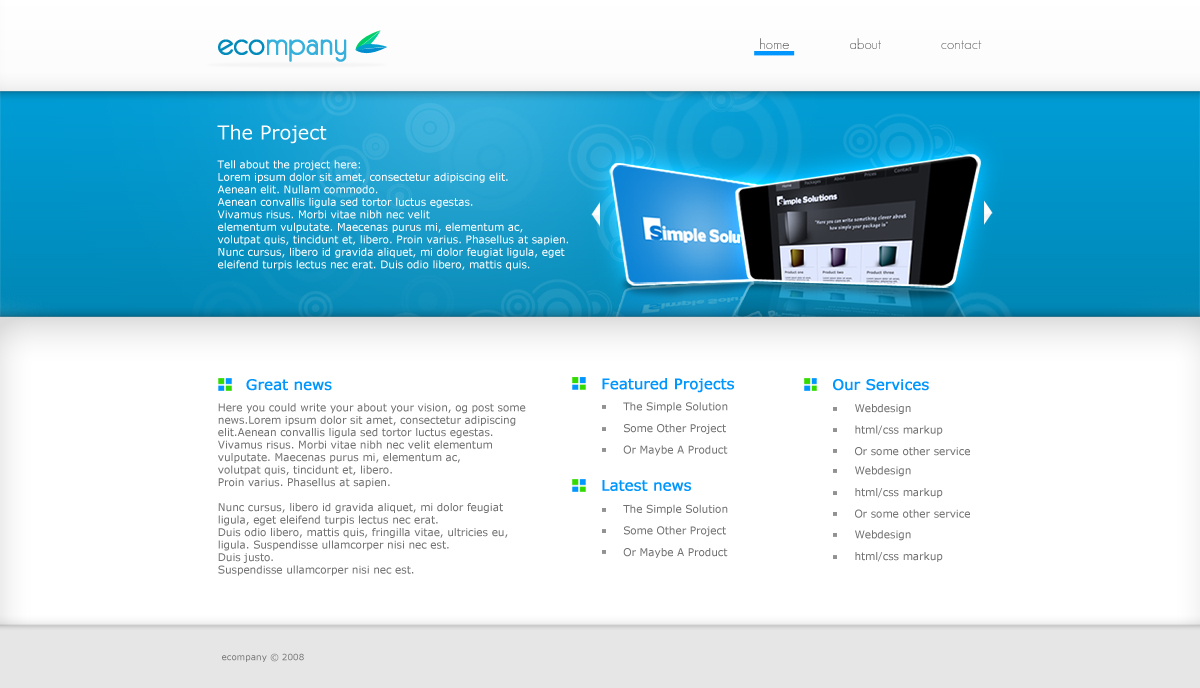 Ecompany - A nice place to write some news, and show some references or products