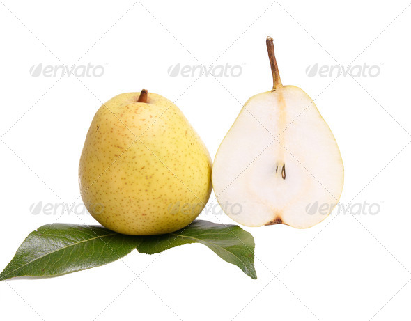Ripe,tasty pears on a white. - Stock Photo - Images